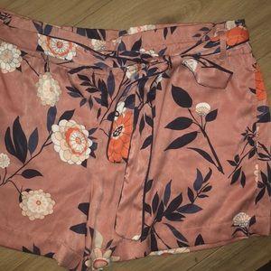 Silky floral tie waist shorts